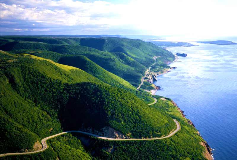 Vista del Cabot Trail, cap rouge in Nova Scotia